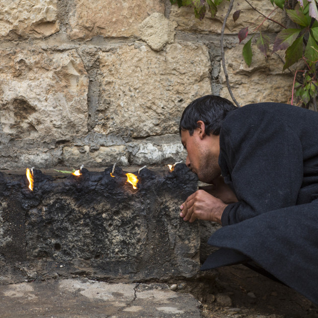 """Yezedi Man Kissing The Sacred Fire, Lalesh Temple, Kurdistan, Iraq"" stock image"