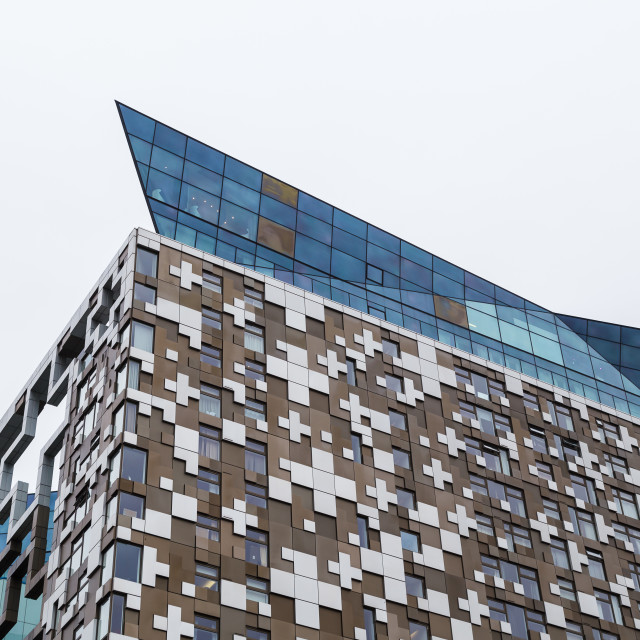 """""""Crown sitting on top of the Cube building"""" stock image"""