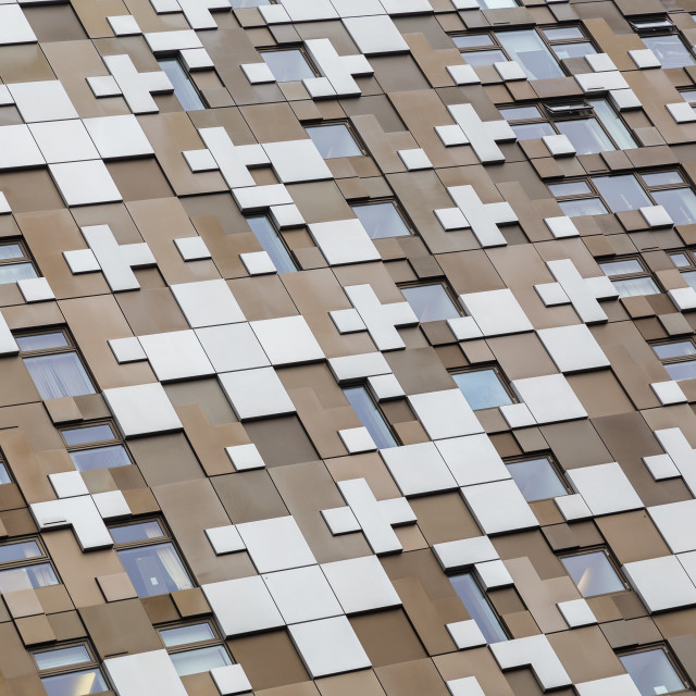 """Close up of the panels of cladding on The Cube"" stock image"