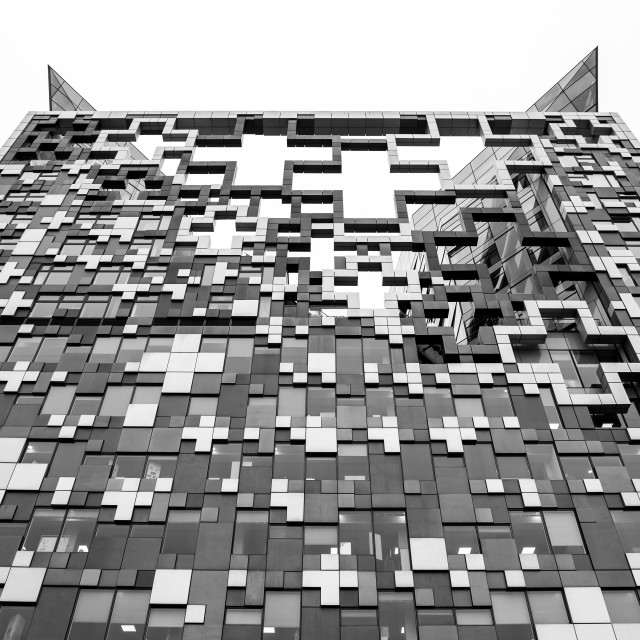 """Monochrome of one side of The Cube"" stock image"