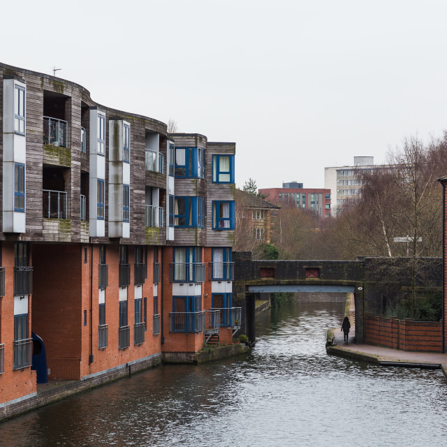 """Riverside accomodation in Birmingham"" stock image"