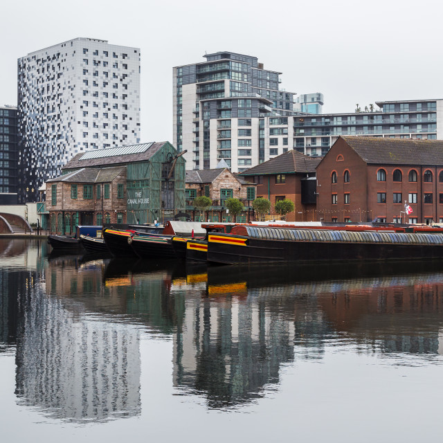 """""""Reflections of Gas Street Basin"""" stock image"""