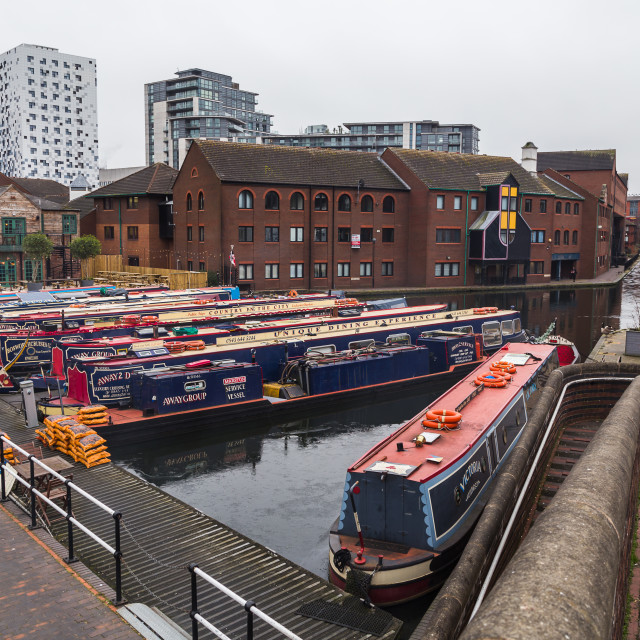 """Footbridge over Gas Street Basin"" stock image"