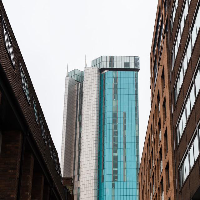 """Contrasting buildings on the skyline of Birmingham"" stock image"