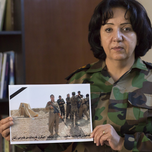 """Colonel Nahida Ahmad Rashid With A Picture Of Captain Rangin Yousuf Killed By..."" stock image"