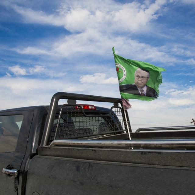 """""""Peshmerga Car With A President Talabani Patriotic Union Of Kurdistan Flag,..."""" stock image"""