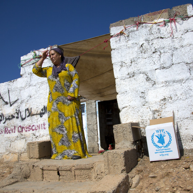 """""""Woman In Front Of Her House, Qushtapa Refugee Camp, Erbil, Kurdistan, Iraq"""" stock image"""