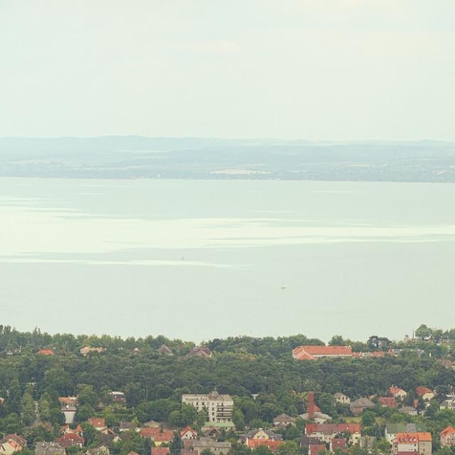 """""""Panorama Landscape of Balatonfured City and Lake Balaton"""" stock image"""