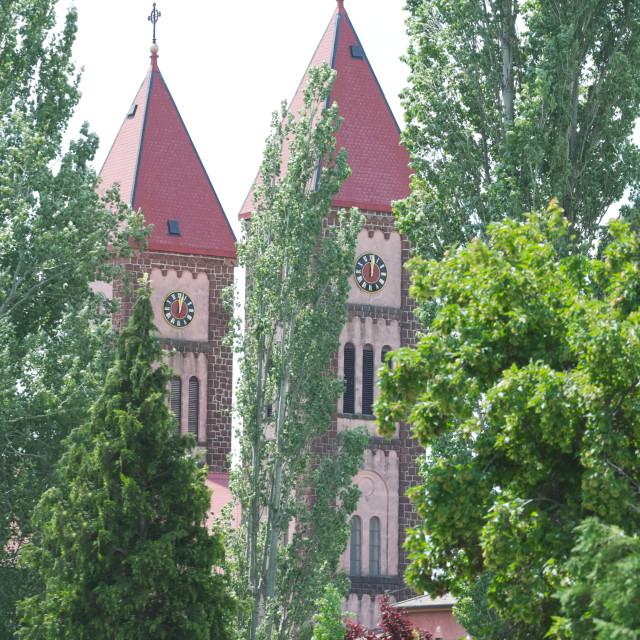 """Red Church in Balatonfured Hungary"" stock image"