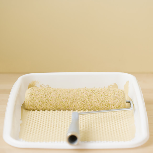 """""""Close up of paint roller in tray"""" stock image"""