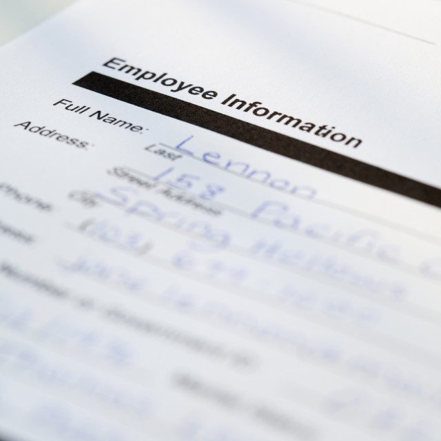 """Employee information form"" stock image"