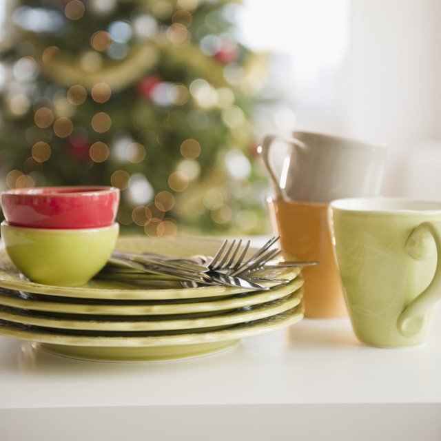 """""""Stacked plates and crockery"""" stock image"""