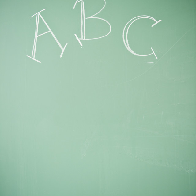 """Close up of blackboard with ABC letters"" stock image"