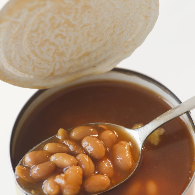 """""""Close up of canned baked beans on spoon"""" stock image"""