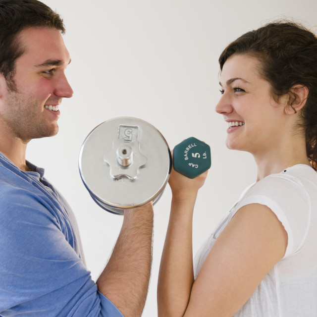 """Couple weightlifting"" stock image"