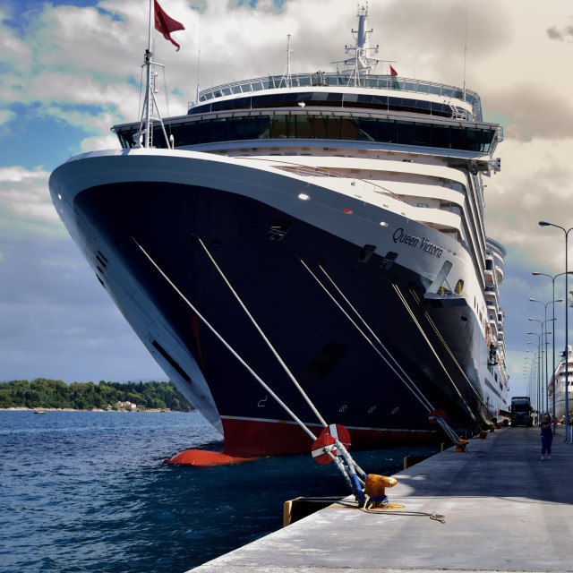 """Cunard Queen Victoria alongside in Corfu"" stock image"