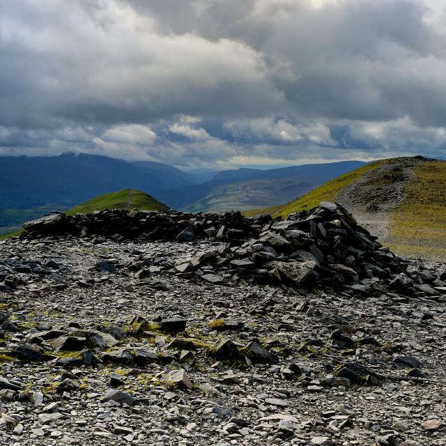 """The summit shelter of Skiddaw"" stock image"