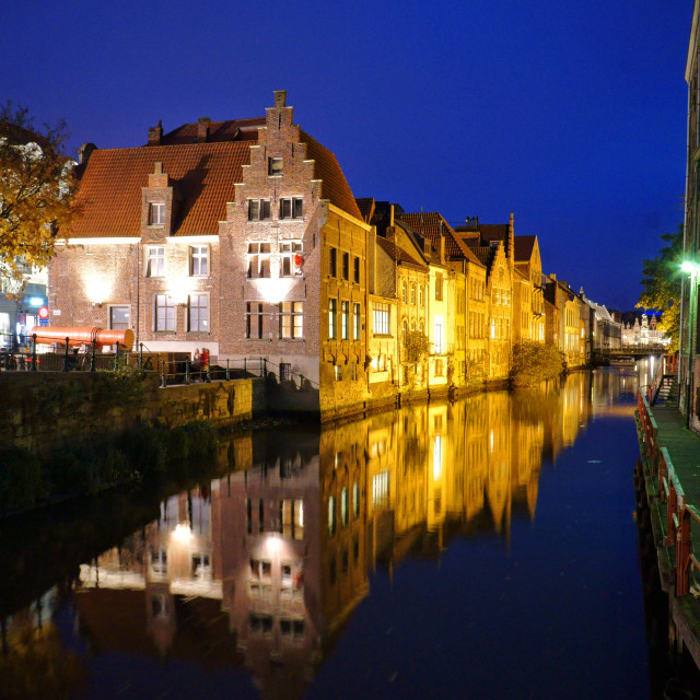 """""""Gent river at night"""" stock image"""