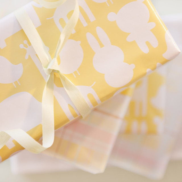"""""""Gift boxes wrapped in pastel colored paper"""" stock image"""