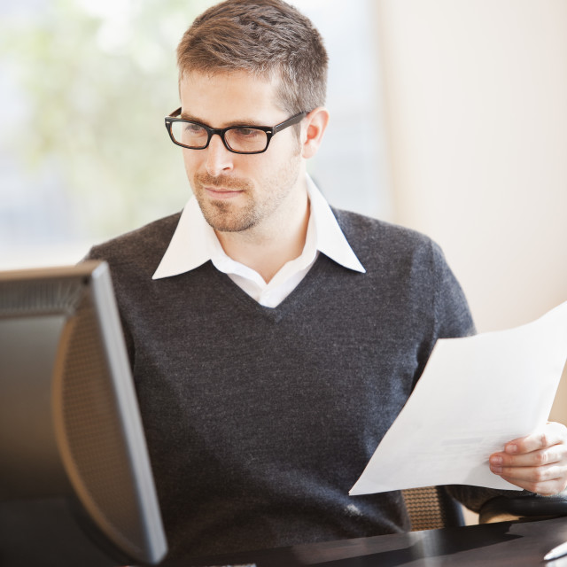 """""""Portrait of man in office"""" stock image"""