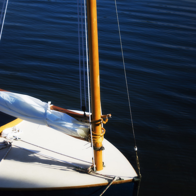 """""""Yacht with furled sail"""" stock image"""