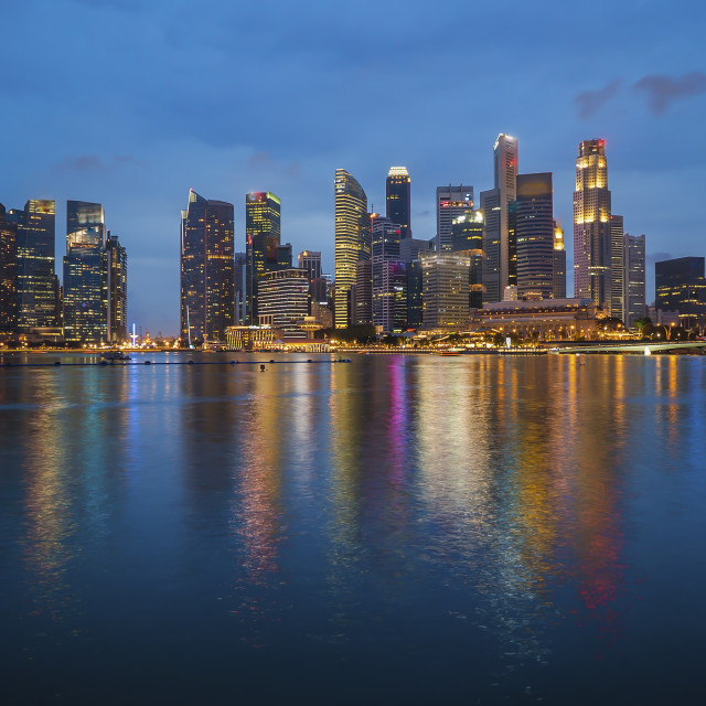 """Singapore landmark city skyline at the Marina bay during sunset"" stock image"