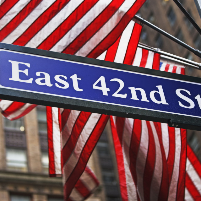 """East 42nd Street sign, New York city"" stock image"