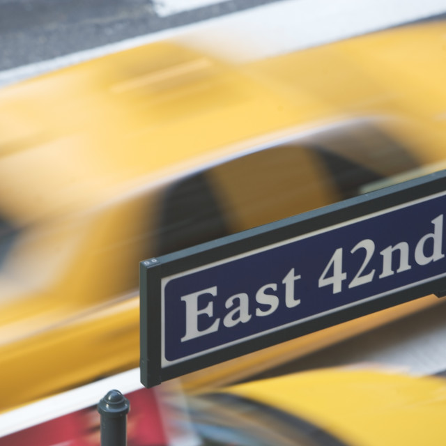 """USA, New York City, Manhattan, Road direction sign on 42nd Street"" stock image"
