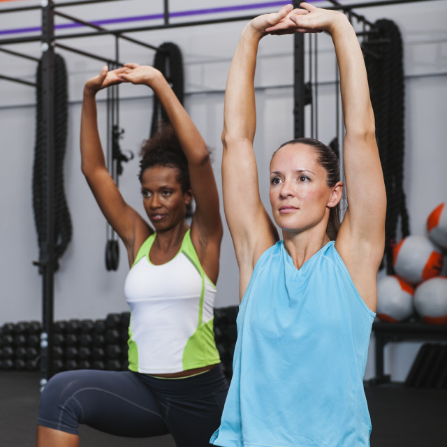 """""""Two mid adult women doing aerobic in gym"""" stock image"""