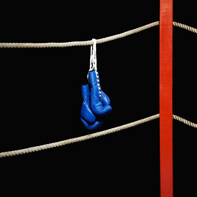 """Boxing gloves hanging from boxing ring"" stock image"