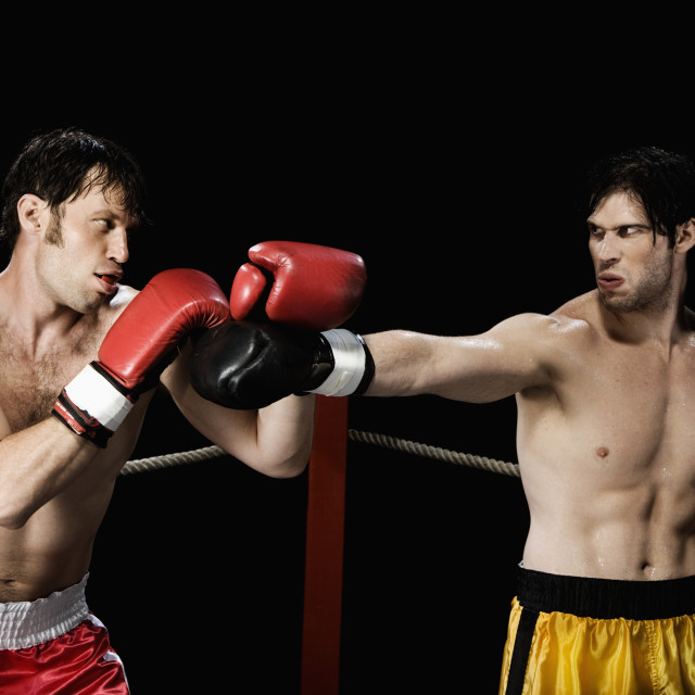 """Boxers fighting in boxing ring"" stock image"