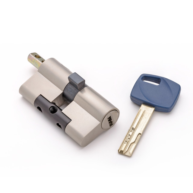 """Security lock cylinder with key"" stock image"