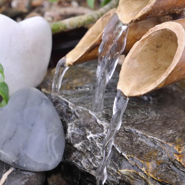 """romatic little bamboo fountain"" stock image"