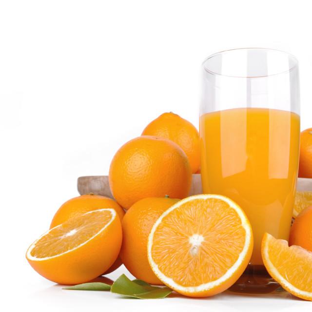 """""""glass of fresh orange juice"""" stock image"""