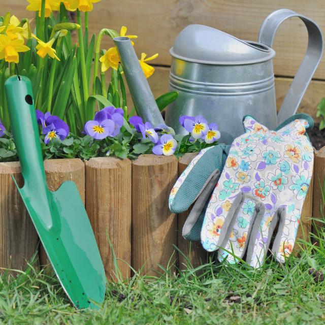 """""""springtime work in garden"""" stock image"""