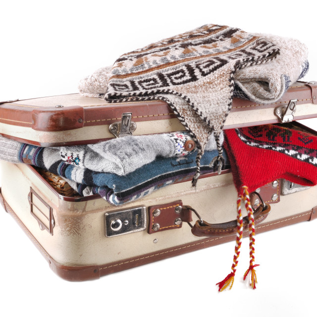 """""""suitcase full of woolen clothes"""" stock image"""