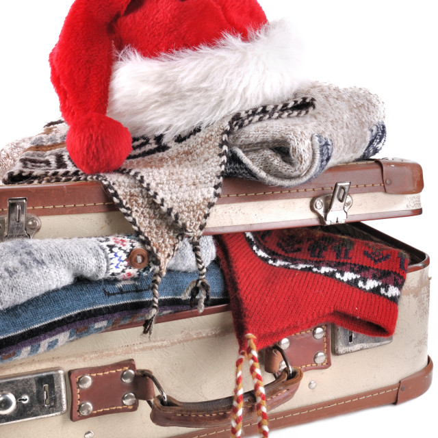 """""""christmas cap on suitcase"""" stock image"""