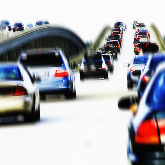"""Cars in traffic jam"" stock image"