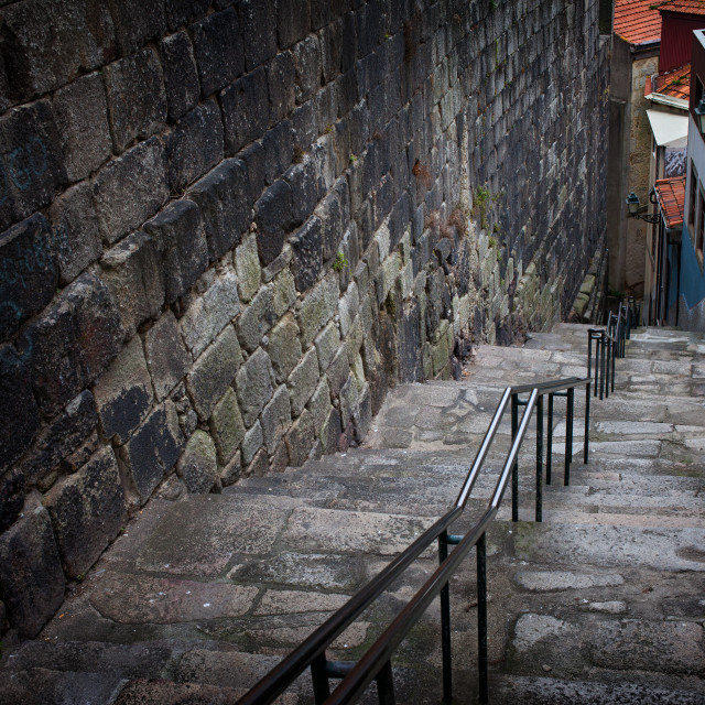 """Steps Along Medieval Stone Wall"" stock image"