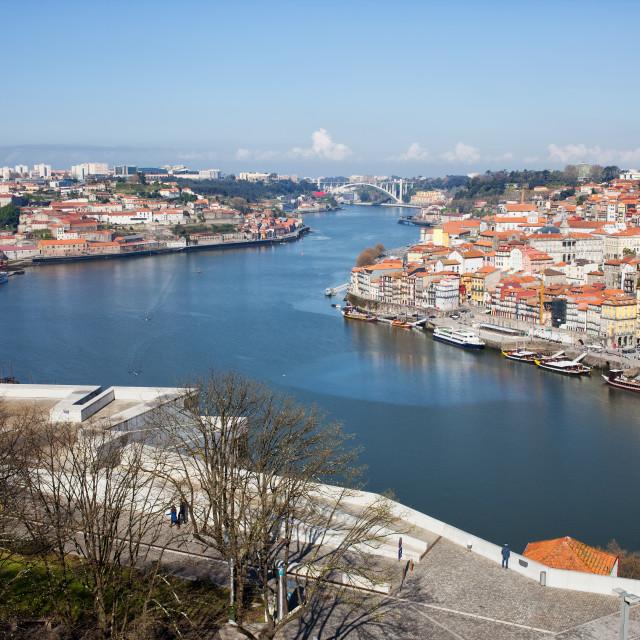 """""""Vila Nova de Gaia and Porto in Portugal"""" stock image"""