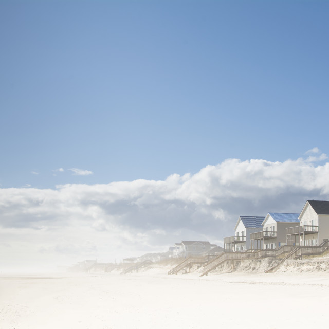 """""""USA, NC, Surf City, Topsail Beach, Cottages on beach"""" stock image"""