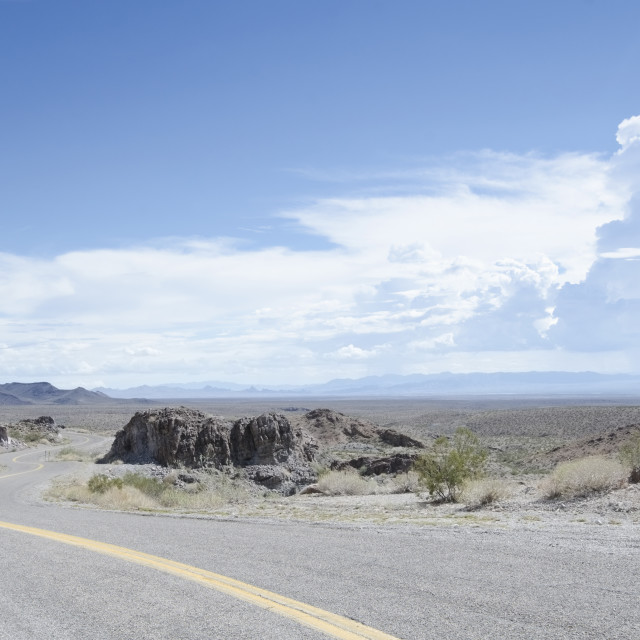 """""""USA, Arizona, Route 66, Curve at empty two lane highway"""" stock image"""