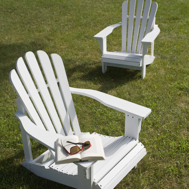 """""""Two adirondack chairs on lawn"""" stock image"""