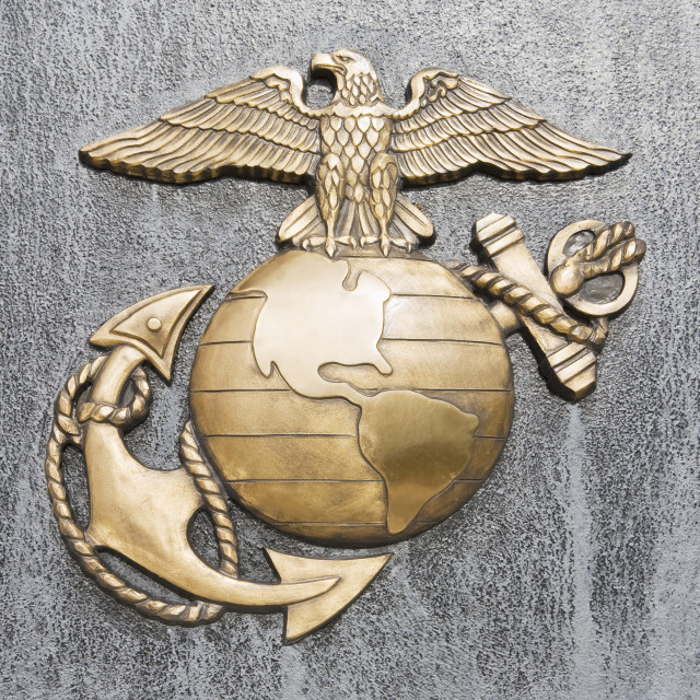 """USA, Virginia, close up of US Marines insignia"" stock image"