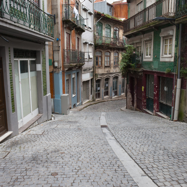 """Street and Houses in Old Town of Porto"" stock image"
