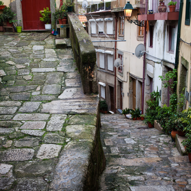 """Medieval Alley in Ribeira Old Town of Porto"" stock image"