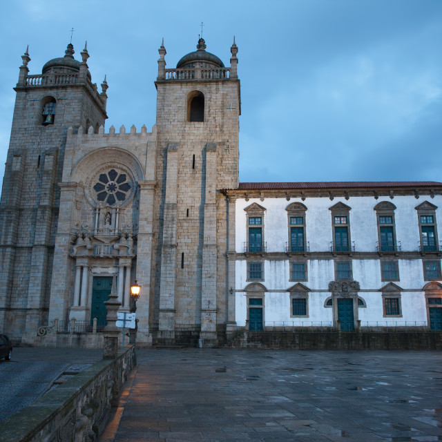 """Porto Cathedral at Dusk in Portugal"" stock image"
