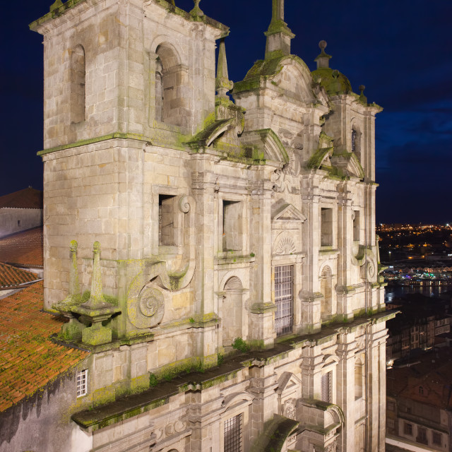 """Church of Saint Lawrence by Night in Porto"" stock image"