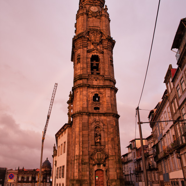 """Clerigos Church Tower at Sunset in Porto"" stock image"