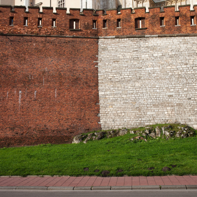 """Medieval Castle Wall of Stone and Brick"" stock image"